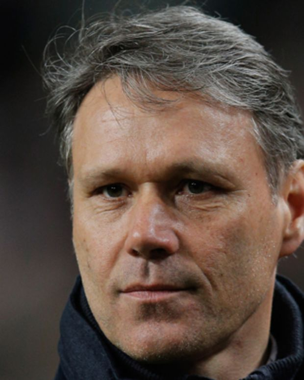 AMSTERDAM, NETHERLANDS - APRIL 19:  Heerenveen Manager / Coach, Marco van Basten looks on after his team get a draw in the  Eredivisie match between Ajax Amsterdam and SC Heerenveen at Amsterdam Arena on April 19, 2013 in Amsterdam, Netherlands.  (Photo by Dean Mouhtaropoulos/Getty Images)