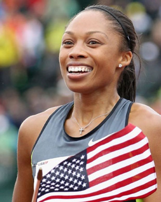 EUGENE, OR - JUNE 30:  Allyson Felix celebrates after winning the Women's 200 Meter Dash Final on day nine of the U.S. Olympic Track & Field Team Trials at the Hayward Field on June 30, 2012 in Eugene, Oregon.  (Photo by Christian Petersen/Getty Images) *** Local Caption *** Allyson Felix