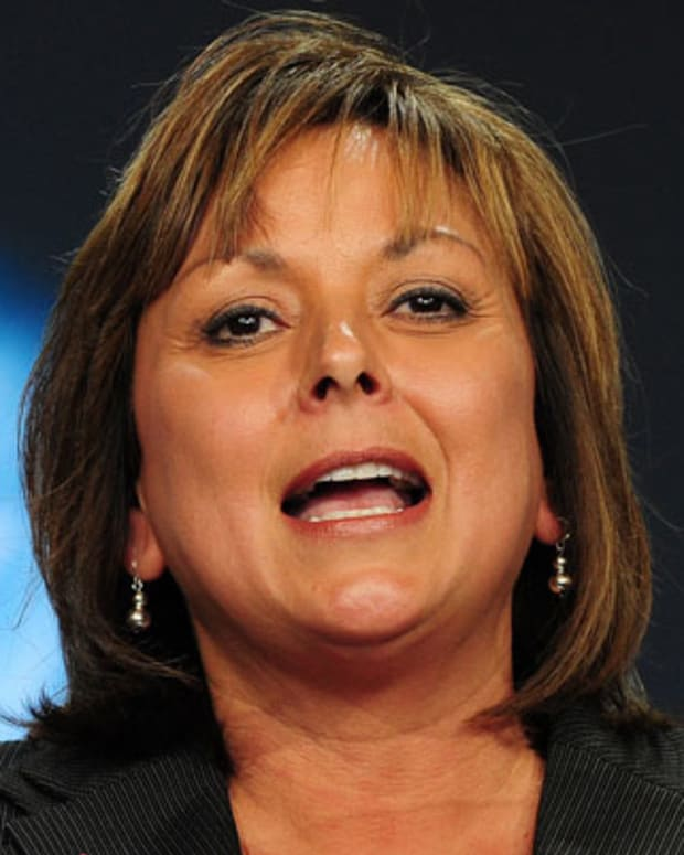 New Mexico Governor Susana Martinez speaks at the hangar facility at Spaceport America, northeast of Truth Or Consequences, on October 17, 2011 in New Mexico. Sir Richard Branson was on hand to host guests and media at the Keys To A New Dawn event, for the dedication of Virgin Galactic's new home at Spaceport America, the world's first purpose-built commercial spaceport in southern New Mexico, where the Spaceport America Terminal Hangar Facility will serve as the operating hub for Virgin Galactic and is expected to house two WhiteKnightTwos and five SpaceShipTwos, in addition to all of Virgin's astronaut preparation facilities and mission control. AFP PHOTO / Frederic J. BROWN (Photo credit should read FREDERIC J. BROWN/AFP/Getty Images)