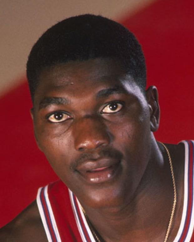 1983:  Akeem Olajuwon #35 of the Houston Cougars poses for a portrait circa 1983. (Photo by Focus on Sport/Getty Images)