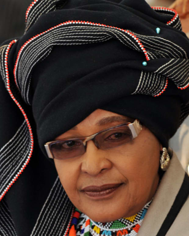(FILES) In this file picture taken on November 5, 2009 Winnie Madikizela-Mandela, former wife of Former South African President Nelson Mandela dressed in Xhosa tribe garbe attends a gathering of traditional leaders from all over the country in Pretoria  at Freedom Park in honour of former President Nelson Rolihlahla Mandela.   Winnie Madikizela-Mandela was never consulted about a new movie on her turbulent life and marriage to Nelson Mandela, her lawyers told the film-makers in a letter leaked on January 26, 2010 to South African media. AFP PHOTO / ALEXANDER JOE (Photo credit should read ALEXANDER JOE/AFP/Getty Images)