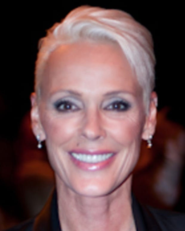 Brigitte Nielsen at the PPQ catwalk show during London Fashion Week, September 2010