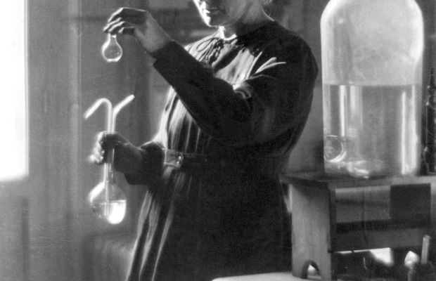 Tech Giants: Knowing from atoms. This 1925 file photo shows professor Marie Curie working in her laboratory at the University of Paris. Marie Curie and her husband, Pierre, discovered the chemical element Polonium and received the Nobel Prize for Physics in 1903. (AFP/Getty Images.)