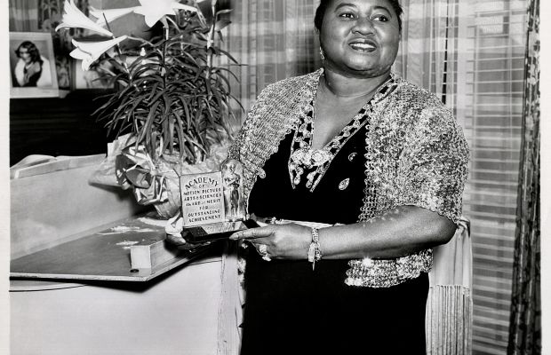 African-American Firsts: Film & TV: Actress Hattie McDaniel makes history in 1940 as the first African-American ever to win an Academy Award - Best Supporting Actress for her work in the 1939 film Gone With the Wind. (Photo by John D. Kisch/Separate Cinema Archive/Getty Images)