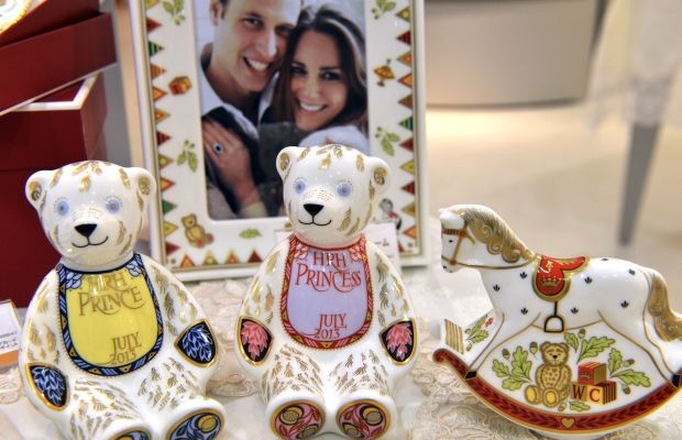 Royal baby commemorative gifts are ready at British gift shops.
