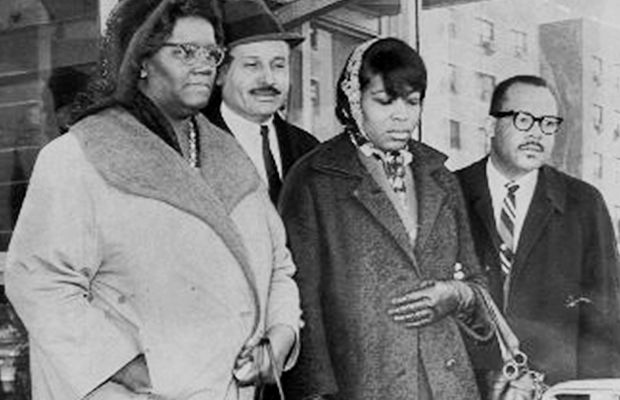 Betty Shabazz: Betty Shabazz identifies the body of her assassinated husband, Malcolm X, along with X's sister Ella Collins (L), attorney Percy Sutton (2nd-L) and undertaker Josep Hall (R) on February 22, 1965. (Photo by Arthur Buckley/NY Daily News Archive via Getty Images)