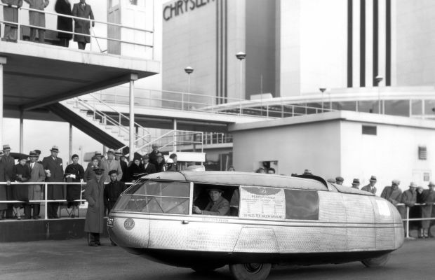The Gulf Dymaxion Car in front of the Chrysler Motors Building at the Chicago World's Fair, 1933.