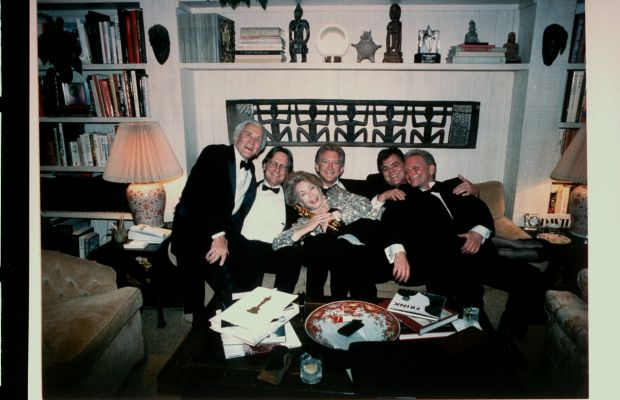 Kirk Douglas: All in the Family: Douglas celebrates his honorary Oscar with his family at home in 1996. From L to R: Douglas, Michael, wife Anne, Peter, Joel, and Eric. (Photo: Time & Life Pictures/Getty Image)