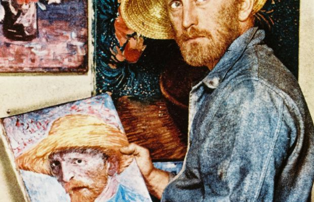 Kirk Douglas: A self-portrait of Douglas as he poses with an image of Vincent Van Gogh for a publicity still for Lust for Life, 1956. Douglas plays Van Gogh in this biopic directed by Vincente Minnelli. (Photo: Getty Images)