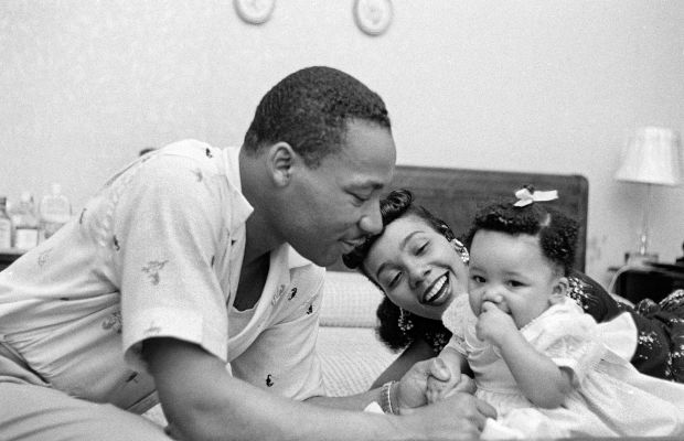 Martin Luther King Jr. with wife Coretta and daughter Yolanda in 1956. (Photo by Michael Ochs Archives/Getty Images)