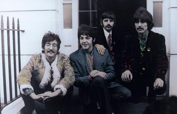 UNITED KINGDOM - MAY 20: Photo of BEATLES; John Lennon, Paul McCartney, Ringo Starr, George Harrison - posed, group shot - outside Brian Epstein's Belgravia house for Sgt. Pepper launch (Photo by Jan Olofsson/Redferns/Getty Images)