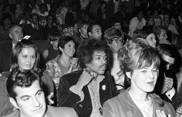 Jimi Hendrix: Hendrix is part of the audience at a Martin Luther King, Jr. benefit in New York City in June 1968 a few months after the civil rights leader's assassination.
