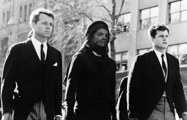 Robert, Jackie, and Ted Kennedy at JFK's funeral in Washington DC, November 25, 1963. (Getty)