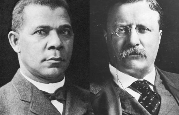 Booker T. Washington and Theodore Roosevelt. (Photos: Hulton Archive/Getty Images; Harris & Ewing [Public domain], via Wikimedia Commons)