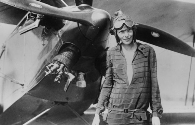 Earhart stands next to her bi-plane 'Friendship' in Newfoundland, June 14, 1928. (Photo:Getty Images)