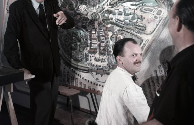 Walt Disney working with his Imagineers on plans for Disneyland, circa 1954. (Getty)