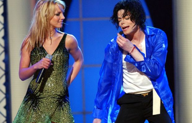 "Britney Spears and Michael Jackson perform together during his 2001 two-day show, ""30th Anniversary Celebration, the Solo Years,"" held at Madison Square Garden in New York City. (Photo by Kevin Mazur/WireImage)"