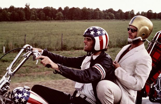 Jack Nicholson Photo Gallery: Counterculture is at its finest when patriotically donned Peter Fonda takes off with Nicholson in this 1969 publicity still for Easy Riders.