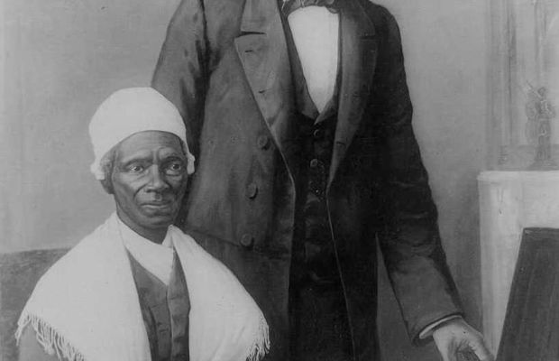 Sojourner Truth is shown a Bible that was given to President Abraham Lincoln as a gift from people of color in Baltimore. (Getty)
