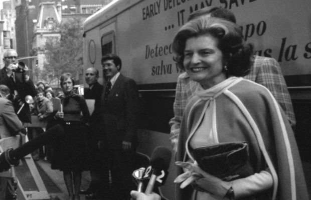 First lady Betty Ford is questioned by the press before touring for breast cancer awareness. (Getty)