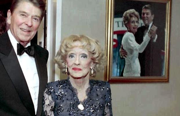 Ronald Reagan with Bette Davis, White House photo, Coutesy Ronald Reagan Library, official government record, PD
