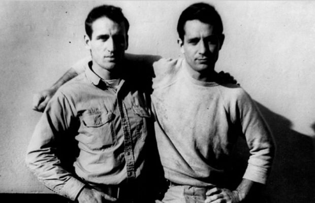 "Neal Cassady and Jack Kerouac in 1952. Kerouac based the character Dean Moriarty in ""On the Road"" on his road trip buddy. (Photo: FoundSF [CC BY-SA 3.0, via Wikimedia Commons)"