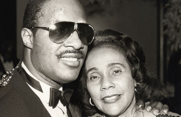 Coretta Scott King: Musician Stevie Wonder poses with Coretta Scott King while attending the special program honoring King's late husband, entitled 'Martin Luther King, Jr.: A Celebration of Life,' on January 8, 1984. (Photo by Ron Galella/WireImage)