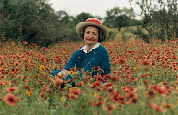 """Lady Bird Johnson: In 1982, Lady Bird Johnson founded the Lady Bird Wildflower Center in Texas to preserve and promote the beauty of the land. She once said: """"My heart found its home long ago in the beauty, mystery, order and disorder of the flowering earth."""" (Photo by Education Images/UIG via Getty Images"""