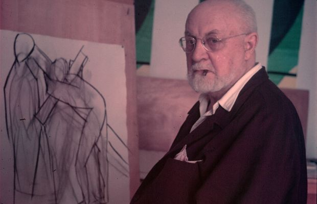 Artist Henri Matisse in front of one of his drawings at his home in Nice in 1948. (Photo by Gjon Mili/The LIFE Picture Collection/Getty Images)