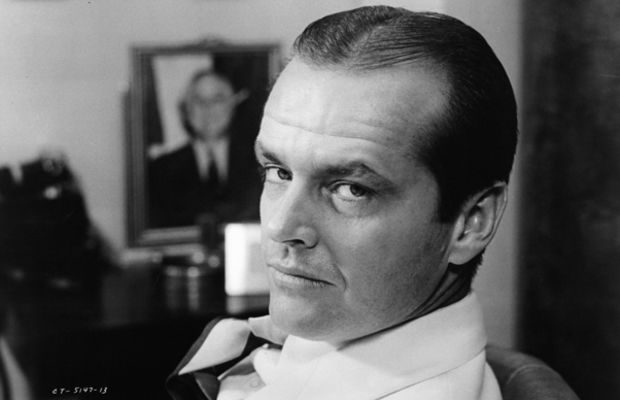 Jack Nicholson Photo Gallery: He means business. Nicholson stares over his shoulder on the set of Chinatown in 1974.