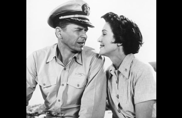Nancy Reagan: The Reagans look into each other's eyes while starring in their first and only film together, Hellcats of the Navy, in 1957. Ronald and Nancy respectively played World War II Commander Casey Abbott and Nurse Lieutenant Helen Blair in the movie. (Photo by Silver Screen Collection/Getty  Images)