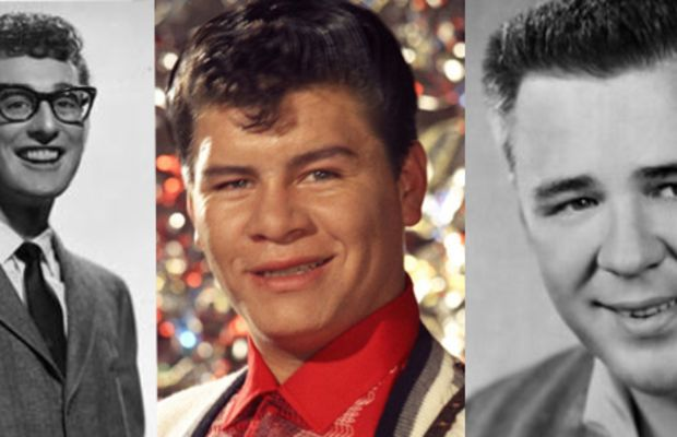 """Buddy Holly, Ritchie Valens and J.P. """"The Big Bopper"""" Richardson died in a plane crash on February 3, 1959. (Buddy Holly Photo: Brunswick Records/Wikimedia Commons; Ritchie Valens Photo: Michael Ochs Archive/Getty Images; Big Bopper Photo: Michael Ochs Archive/Getty Images)"""