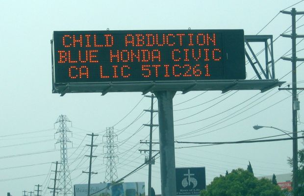 Amber Alert Sign Photo By Bob Bobster, via Wikimedia Commons