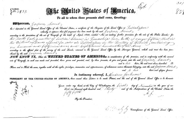 Margaret Mitchell Family Tree  Original land patent of Gospero Sweet in Gadsden County, Florida (Courtesy of BLM GLO)