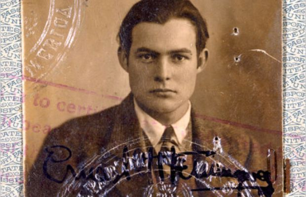Ernest Hemingway's passport photo from 1923. (Photo: John F. Kennedy Presidential Library and Museum [Public domain], via Wikimedia Commons)