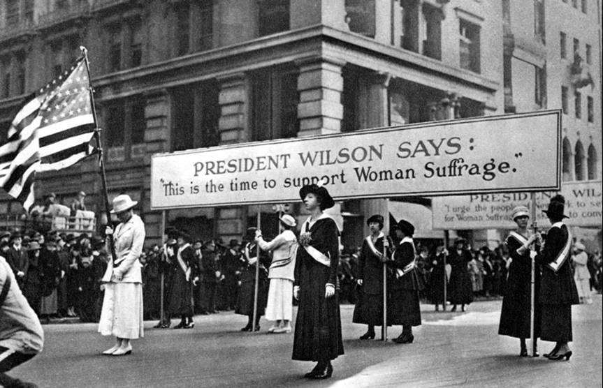 Women suffragists march for the right to vote during the presidency of Woodrow Wilson. (Photo: www.woodrowwilson.org)