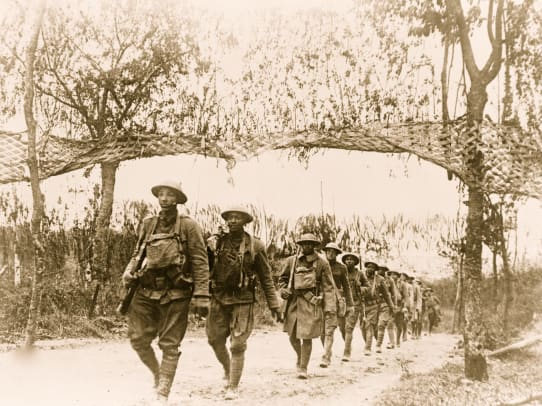 U.S. Army African American unit, marching in World War I