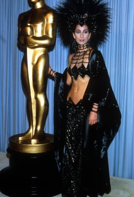 "Cher attends the Academy Awards March 24, 1986 in Los Angeles, CA. Cher would later win the 1988 Best Actress Oscar for her role as Loretta Castorini in ""Moonstruck."" (Photo by Julian Wasser:Liaison)"