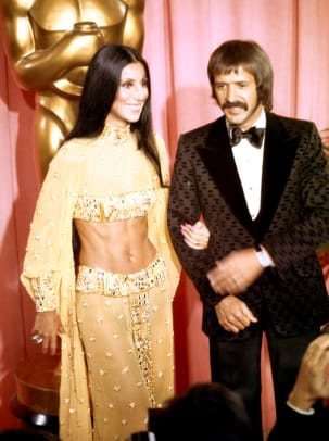 Sonny Bono and Cher attend the Academy Awards ceremony at the Dorothy Chandler Pavilion on March 27, 1973 in Los Angeles, California. (Photo by Michael Ochs Archives:Getty Images)