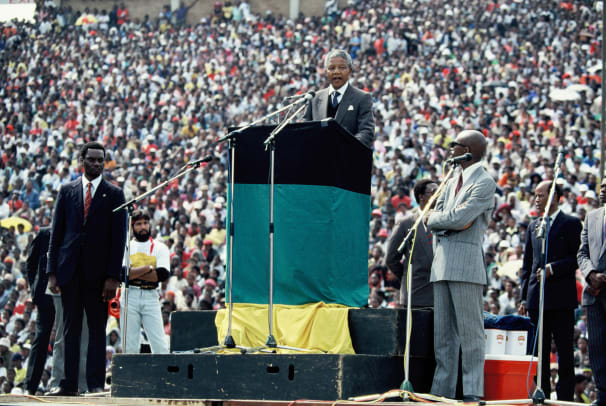 African National Congress (ANC) leader Nelson Mandela holds a speech during a rally in Soweto on February 13, 1990 in Johannesburg, South Africa. (Photo by Georges De Keerle:Getty Images)