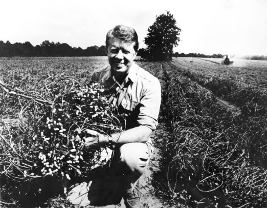 Jimmy Carter on his peanut farm, Plains, Georgia, 1976. (Photo by PhotoQuest:Getty Images)