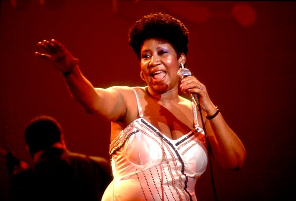 Aretha Franklin performs on stage at the Park West Auditorium, Chicago, Illinois, March 23, 1992. (Photo by Paul Natkin:Getty Images)