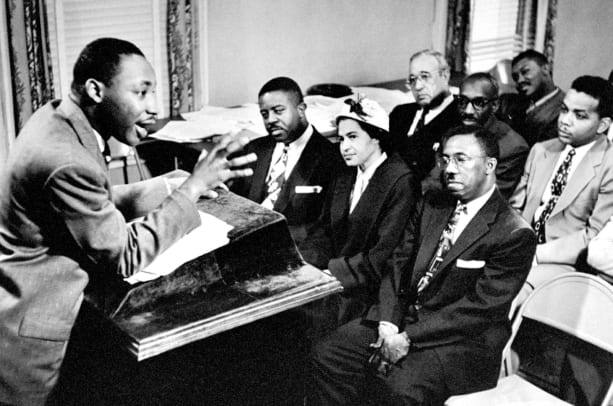 Martin Luther King, director of segregated bus boycott & Rosa Parks who was the catalyst for the protest of bus riders (Photo by Don Cravens:The LIFE Images Collection:Getty Images)
