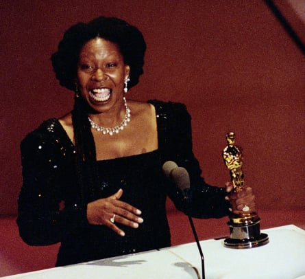 Whoopi Goldberg holds her Best Supporting Actress Oscar for her role in Ghost March 25-Getty