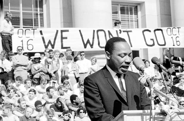 1_Martin Luther King, Jr. delivers a speech to a crowd of approximately 7,000 people on May 17, 1967 at UC Berkeley's Sproul Plaza in Berkeley, California. (Photo by Michael Ochs Archives:Getty Images)