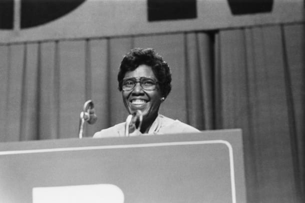 Barbara Jordan (1936 - 1996), giving a speech, U.S.A., circa 1975. Photo by Archive Photos:Getty Images)
