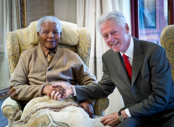 3_Clinton met with Mandela for 90 minutes. (Photo by Barbara Kinney:Clinton Foundation via Getty Images)