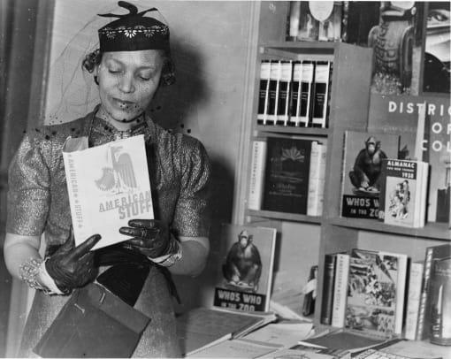 Zora Neale Hurston (1891-1960) at a book fair, New York, New York, circa 1937. (Photo by PhotoQuest:Getty Images)