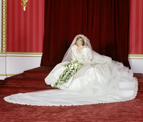 18_The Princess of Wales in the Throne Room at Buckingham Palace after her wedding on 29th July 1981. (Photo by Lichfield:Getty Images).