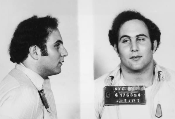 Police mug shot showing the front view and profile of convicted New York City serial killer David Berkowitz, known as the 'Son of Sam'. (Photo by Hulton Archive:Getty Images)